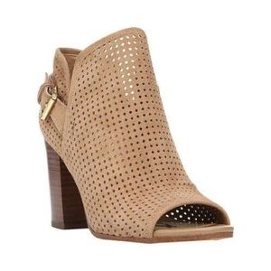Sam Eldeman Tan Open Toe Booties Sz 8